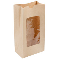4 lb. Brown Kraft Paper Cookie / Coffee / Donut Bag with Polyethylene Window - 50/Pack