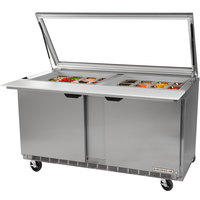 Beverage-Air SPE72HC-30M-STL Elite Series 72 inch 3 Door Mega Top Glass Lid Refrigerated Sandwich Prep Table