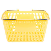 Yellow 18 3/4 inch x 11 1/2 inch Plastic Grocery Market Shopping Basket