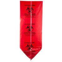 44 Gallon 37 inch X 50 inch Red Isolation Infectious Waste Bag / Biohazard Bag Linear Low Density 3.0 Mil - 25 / Case