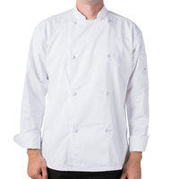 Mercer Culinary M61020WHXS Genesis Unisex 32 inch XS Customizable White Double Breasted Traditional Neck Long Sleeve Chef Jacket with Cloth Knot Buttons
