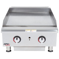 APW Wyott HTG-2424 Natural Gas 24 inch Heavy Duty Countertop Griddle with Thermostatic Controls - 64,000 BTU