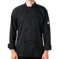 Mercer Culinary Genesis Unisex 60 inch 4X Customizable Black Double Breasted Traditional Neck Long Sleeve Chef Jacket with Cloth Knot Buttons