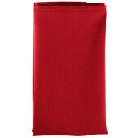 20 inch x 20 inch Red Hemmed Polyspun Cloth Napkin - 12/Pack