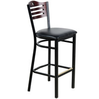 Lancaster Table & Seating Mahogany Finish Bar Height Bistro Chair with 2 inch Padded Seat