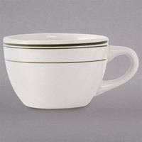 Tuxton TGB-037 Green Bay 7 oz. Eggshell China Round Cup with Green Bands - 36/Case