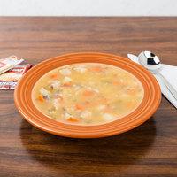 Homer Laughlin 451325 Fiesta Tangerine 13.25 oz. China Rim Soup Bowl - 12/Case