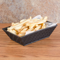 GET RB-893 8 inch x 4 1/2 inch Black Rectangular Plastic Fast Food Basket - 12/Pack