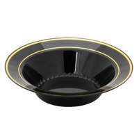 Fineline Silver Splendor 512-BKG Black 12 oz. Plastic Soup Bowl with Gold Bands - 15/Pack