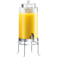 Cal-Mil 1580-3-74 3 Gallon Silver Soho Glass Beverage Dispenser with Ice Chamber - 10 inch x 12 inch x 24 1/2 inch
