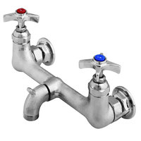 T&S B-2480 Service Sink Faucet with Rough Chrome Plated Finish, 3/4 inch Garden Hose Outlet, and 4-Arm Handles