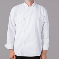 Mercer Culinary M61020WHS Genesis Unisex 36 inch Small Customizable White Double Breasted Traditional Neck Long Sleeve Chef Jacket with Cloth Knot Buttons