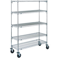 Metro 5A456BC Super Adjustable Chrome 5 Tier Mobile Shelving Unit with Rubber Casters - 21 inch x 48 inch x 69 inch