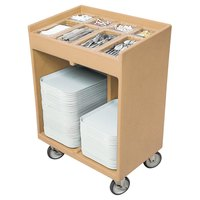 Cambro TC1418157 Coffee Beige Tray and Silverware Cart with Protective Vinyl Cover