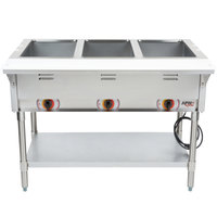 APW Wyott ST-3 Three Pan Exposed Stationary Steam Table with Coated Legs and Undershelf - 1500W - Open Well, 240V
