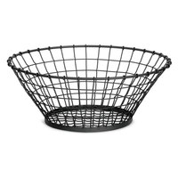 Tablecraft GM15 Grand Master Round Black Wire Basket - 15 inch x 5 1/4 inch