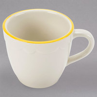 CAC SC-35G 3.5 oz. Ivory Scalloped Edge China Demitasse Cup with Gold Accent Band - 36/Case