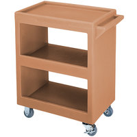 Cambro BC230157 Coffee Beige Three Shelf Service Cart - 33 1/4 inch x 20 inch x 34 5/8 inch