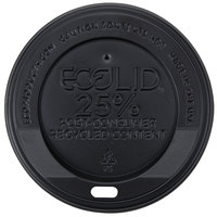 Eco-Products 10, 12, 16, and 20 oz. Black Recycled Content Hot Paper Cup Lid - 100/Pack