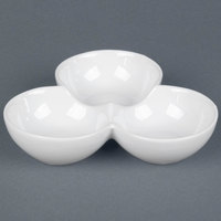 CAC COL-42 7 1/2 inch x 1 3/4 inch Super White Three Bowl Tasting Dish - 12 / Case