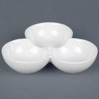 CAC COL-42 7 1/2 inch x 1 3/4 inch Super White Three Bowl Tasting Dish - 12/Case