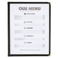 8 1/2 inch x 11 inch Three Pocket Menu Cover - Black