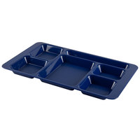 Cambro 1596CP186 (2 x 2) 9 inch x 15 inch Navy Blue Six Compartment Serving Tray - 24/Case