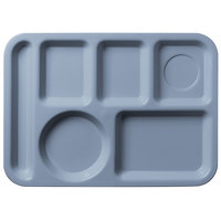 Carlisle 61459 10 inch x 14 inch Slate Blue ABS Plastic Left Hand 6 Compartment Tray