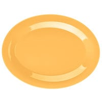 GET OP-950-TY Diamond Mardi Gras 9 3/4 inch x 7 1/4 inch Tropical Yellow Oval Melamine Platter - 24/Case