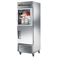 True TS-23-1-G-1 Stainless Steel Single Section Half Door Reach In Refrigerator with Glass Top and Solid Bottom - 19.5 Cu. Ft.