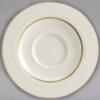 Homer Laughlin 1420-0355 Westminster Gothic Ivory (American White) 5 5/8 inch China Saucer - 36/Case