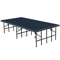 National Public Seating S488C Single Height Portable Stage with Blue Carpet - 48 inch x 96 inch x 8 inch