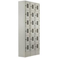 Winholt WL-618 Triple Column Eighteen Door Locker with Perforated Doors - 36 inch x 12 inch