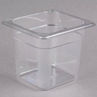 Cambro 66CW135 Camwear 1/6 Size Clear Polycarbonate Food Pan - 6 inch Deep
