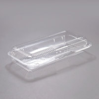 Dart PET90UT1 StayLock 13 3/8 inch x 6 3/4 inch x 2 5/8 inch Clear Hinged PET Plastic 13 inch Strudel Container - 200/Case