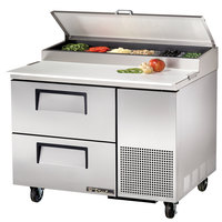 True TPP-44D-2 44 inch Two Drawer Refrigerated Pizza Prep Table