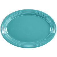 Homer Laughlin HL458107 Fiesta Turquoise 13 5/8 inch x 9 1/2 inch Oval Large China Platter - 12/Case