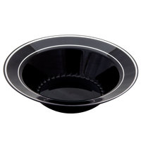 Fineline Silver Splendor 512-BKS Black 12 oz. Plastic Soup Bowl with Silver Bands - 150/Case