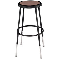 National Public Seating 6224H-10 Black 25 inch - 33 inch Adjustable Hardboard Round Lab Stool