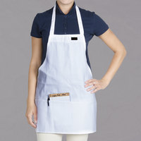 Chef Revival 602BAFH-WH Customizable Professional Front of the House White Bib Apron - 28 inchL x 25 inchW