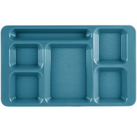 Cambro 1596CW414 Camwear (2 x 2) 9 inch x 15 inch Teal Six Compartment Serving Tray - 24/Case