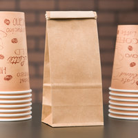 1/2 lb. Brown Kraft Paper Coffee Bag with Reclosable Tin Tie - 100/Pack