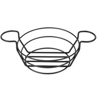 American Metalcraft BSKB80 Black Round Wire Basket with Ramekin Holders - 8 inch x 3 3/4 inch