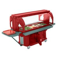 Cambro VBRUHD5158 Hot Red 5' Versa Ultra Food / Salad Bar with Storage and Heavy-Duty Casters