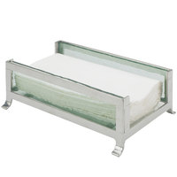Cal-Mil 1595-43 Soho Silver Napkin Holder with Faux Glass Sides - 9 1/2 inch x 6 1/4 inch x 3 1/2 inch