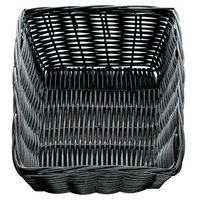 Tablecraft 2472 9 inch x 6 inch x 2 1/2 inch Black Rectangular Rattan Basket - 12/Pack