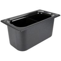 Carlisle CM110303 Coldmaster 1/3 Size Black Divided Cold ABS Plastic Food Pan - 6 inch Deep