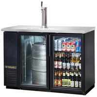 True TDB-24-48G 49 inch Back Bar Direct Draw Kegerator Beer Dispenser with Two Glass Doors