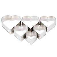 Ateco 7804 6-Piece Stainless Steel Plain Heart Cutter Set