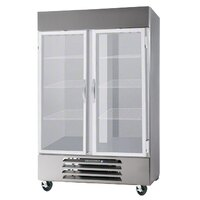 Beverage Air HBF49-1-G-LED 2 Section Glass Door Bottom Mount Reach-In Freezer with LED Lighting - 49 cu. ft.